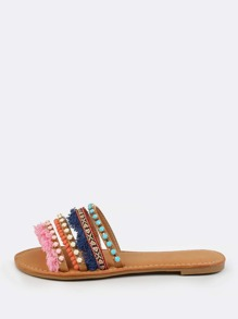 Colorful Embellished Slip Ons TAN