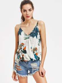 V Neckline Tropical Print Cami Top