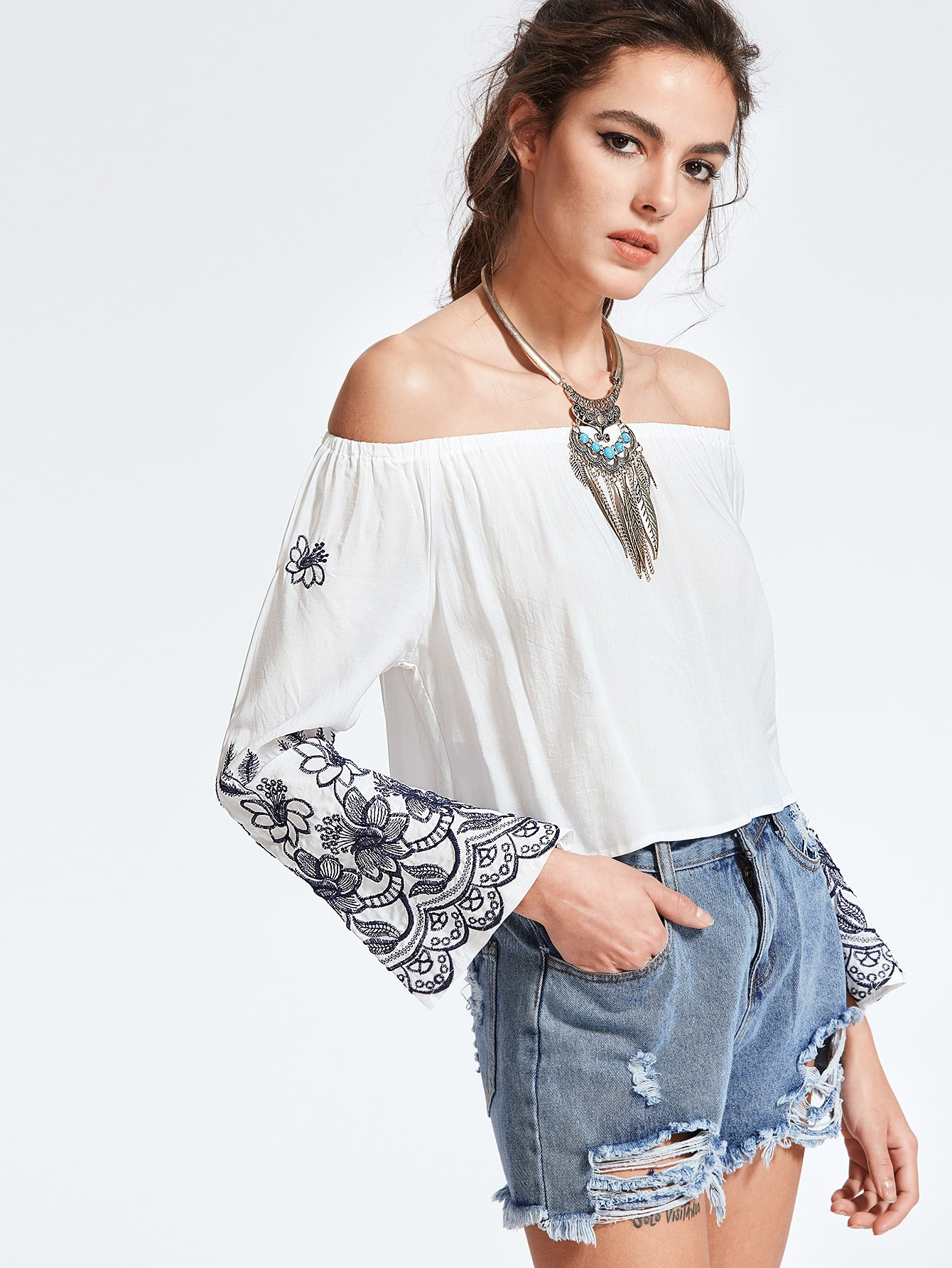 White Off The Shoulder Embroidered Top blouse170307002
