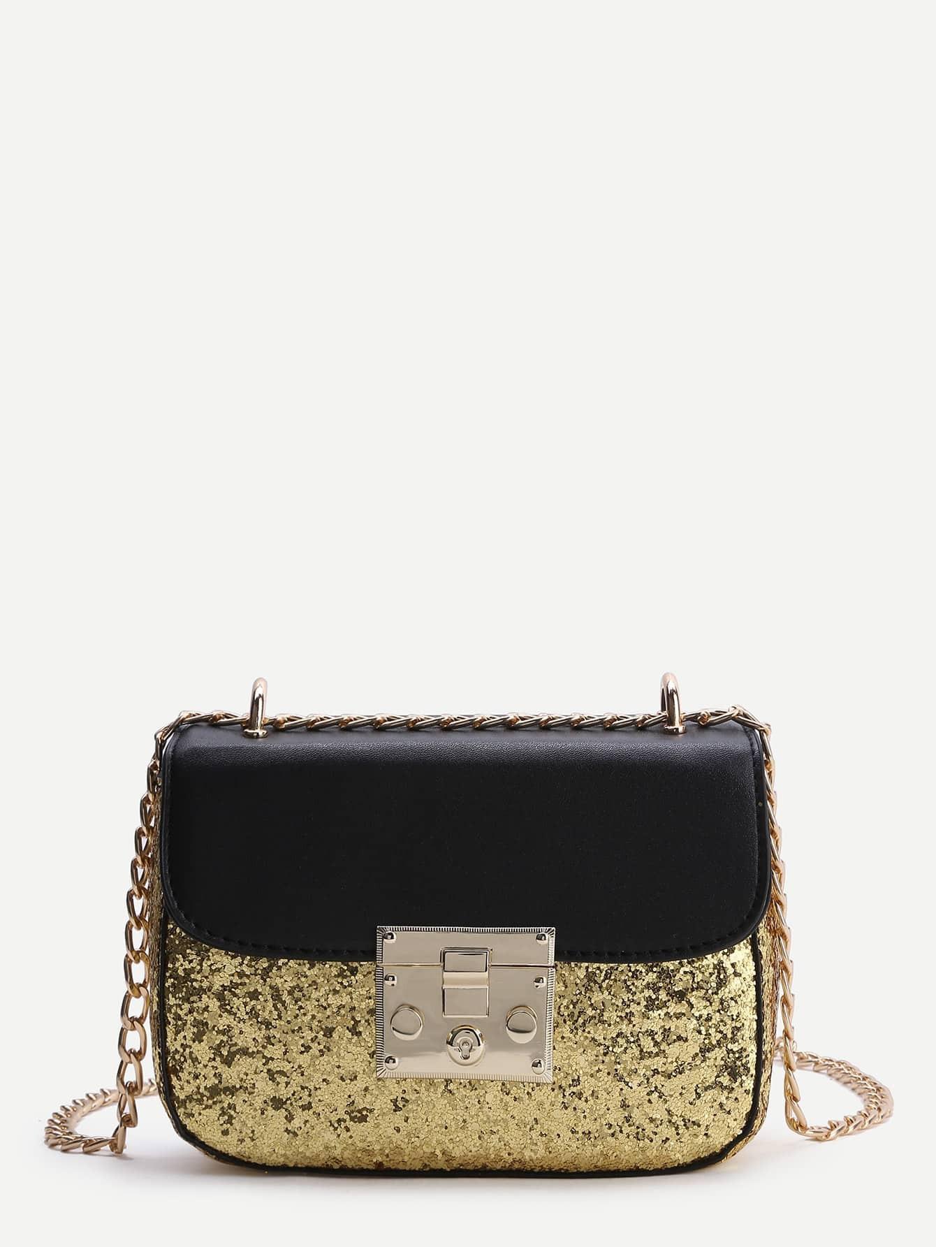 Фото Sequin Detail PU Chain Bag. Купить с доставкой