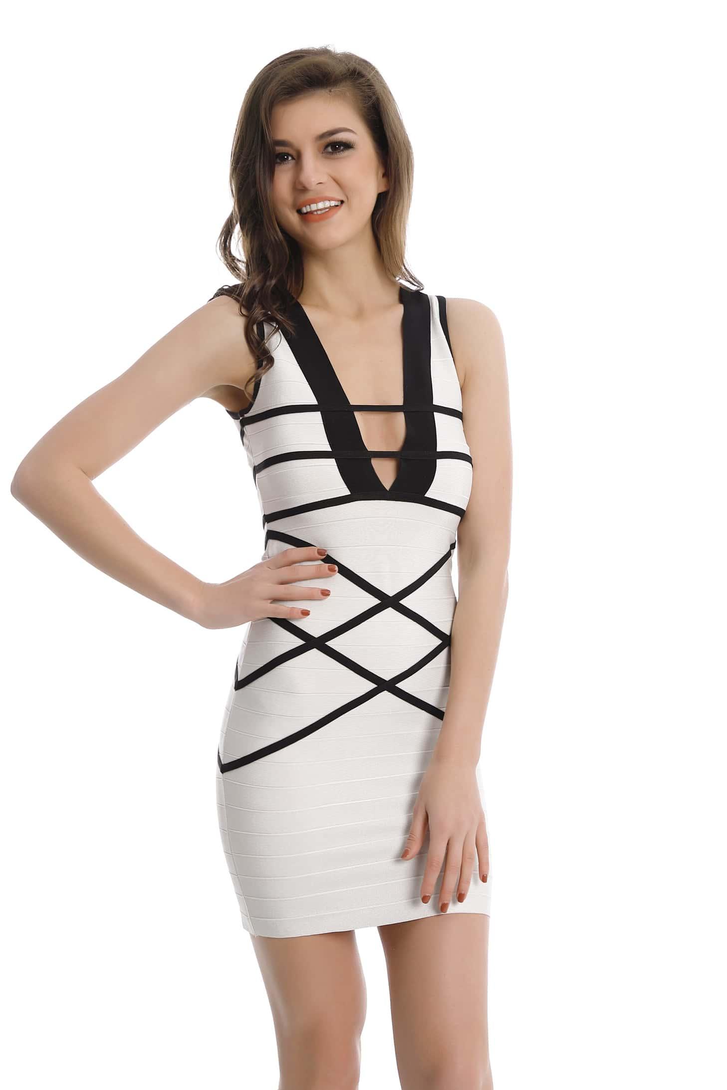 Фото Plunging V Neckline Stripe Trim Bodycon Dress. Купить с доставкой