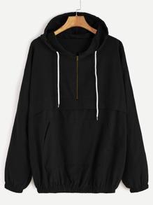 Black Drop Shoulder Zip Detail Pocket Drawstring Hoodie
