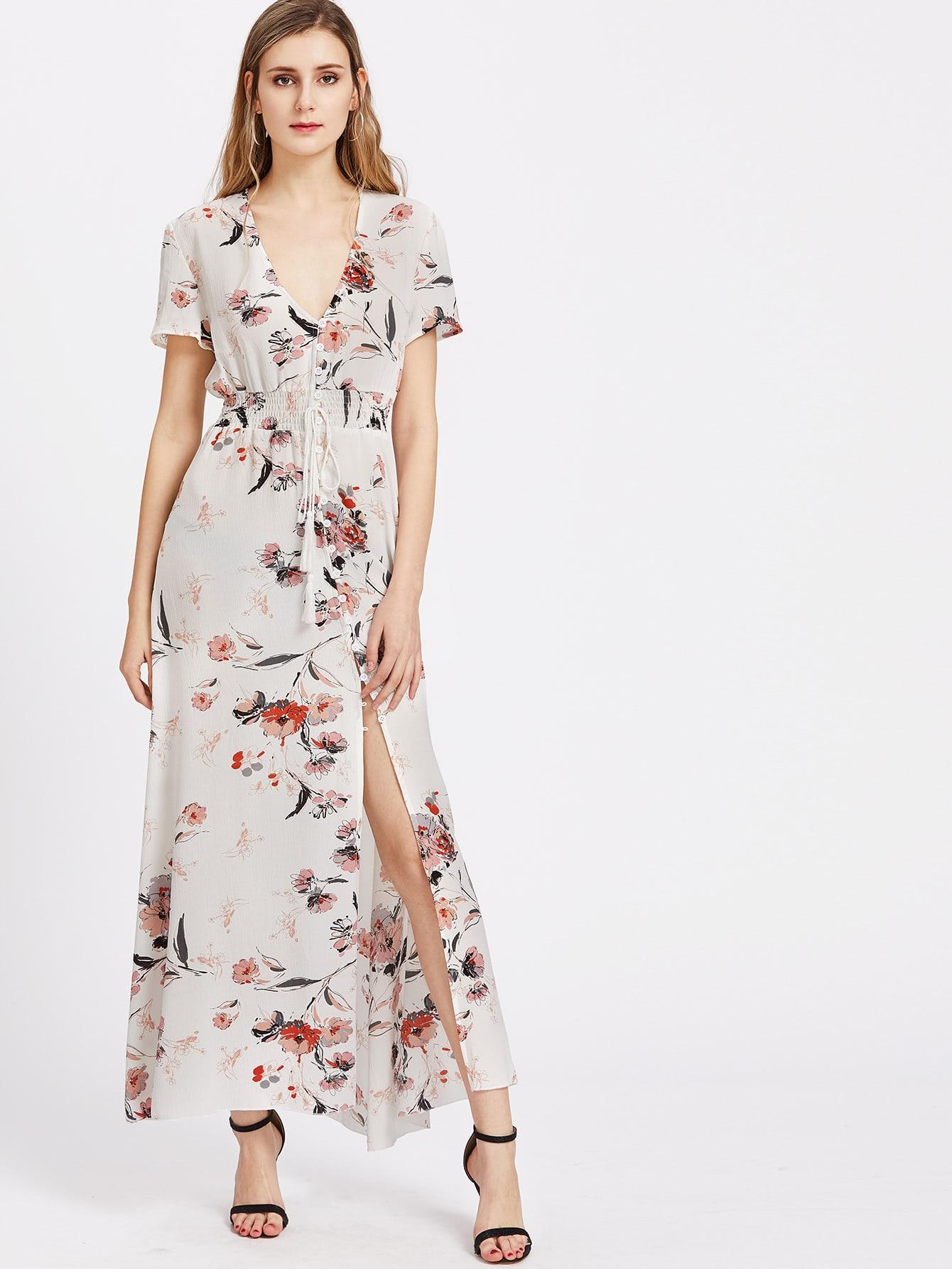 Фото Flower Print Button Front Tassel Tied Smocked Waist Dress. Купить с доставкой