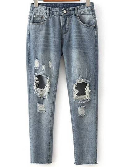 Distressed Full Length Boyfriend Jeans