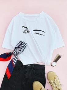T-shirt imprimé yeux