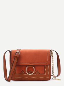Brown Ring Detail Flap Shoulder Bag