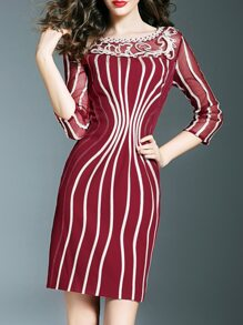Burgundy Disc Flowers Sheath Dress