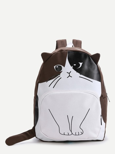 Brown Cat Pattern Cute Backpack