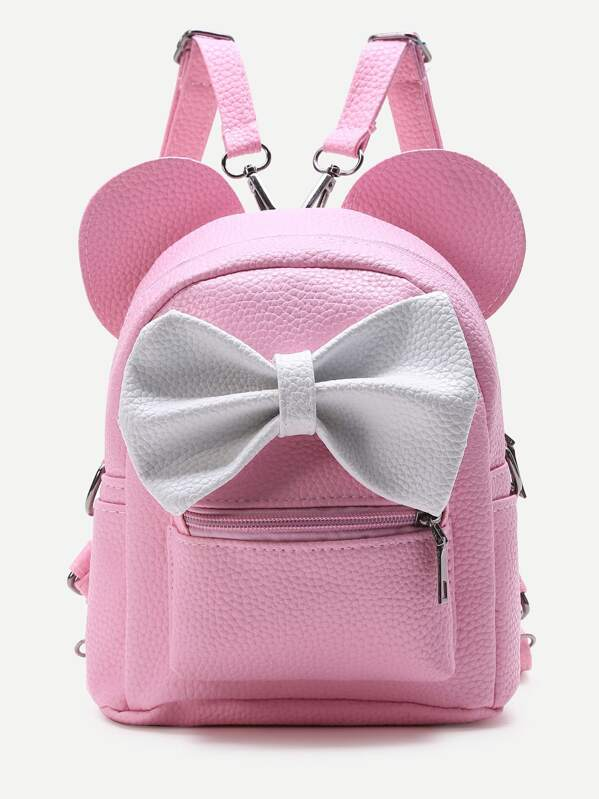Pink Ear Shaped PU Backpack With Contrast Bow, null
