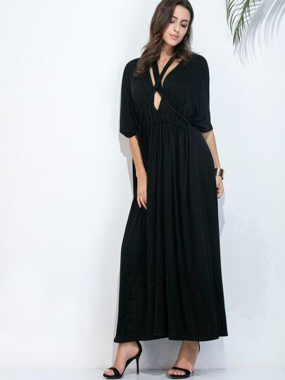 Black Deep V Neck Dolman Sleeve Dress