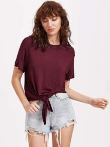 Burgundy Drop Shoulder Knot Front T-shirt