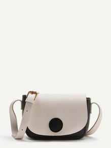 Black And White PU Crossbody Bag