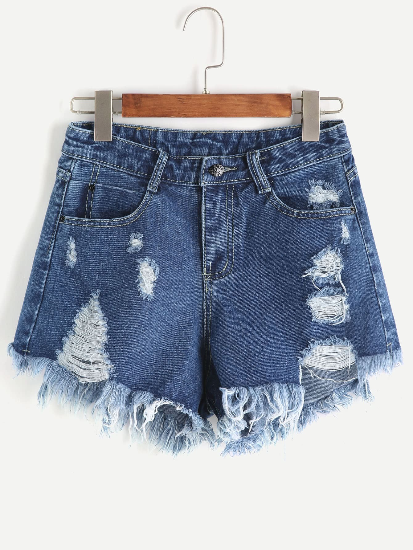 Фото Pocket Ripped Raw Hem Denim Shorts. Купить с доставкой