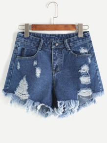 Pocket Ripped Raw Hem Denim Shorts