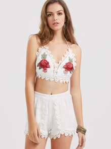 Rose Patch Lace Trim Halter Top With Wrap Shorts