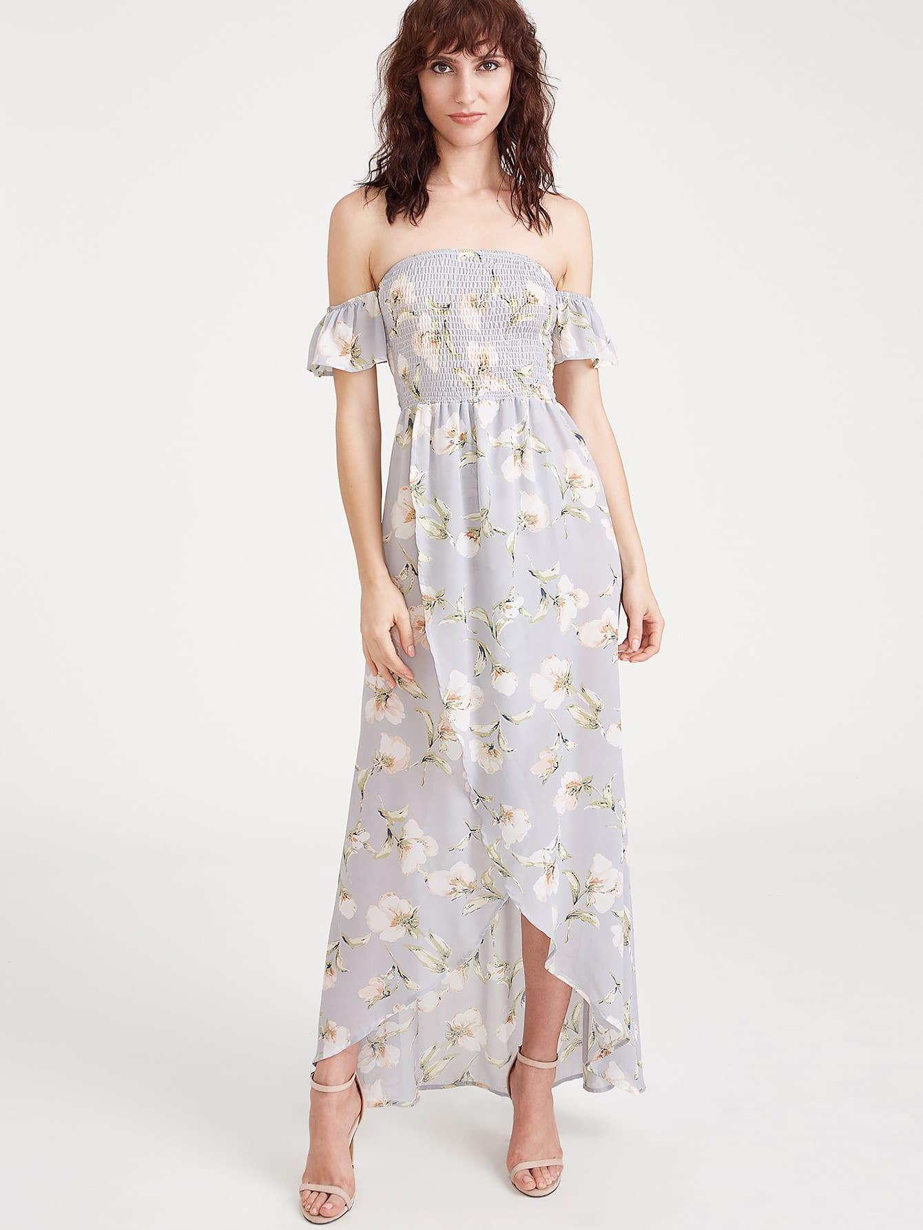 Фото Bardot Split Front Strappy Back Floral Dress. Купить с доставкой