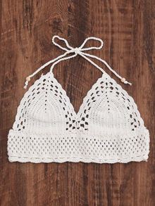 Halter Neck Hollow Out Crochet Top