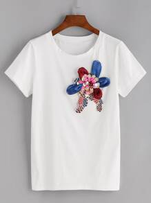 Stereo Flower Decoration T-shirt