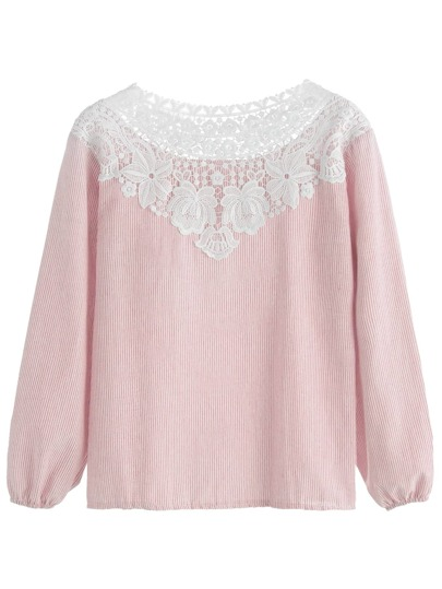 Pink Vertical Striped Contrast Lace Trim Top