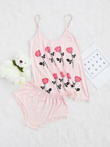 Conjunto con estampado de flor - rosa