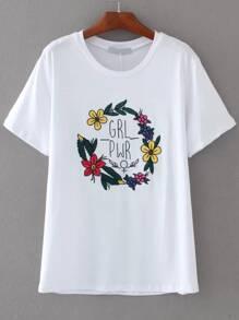 White Flower Print T-shirt