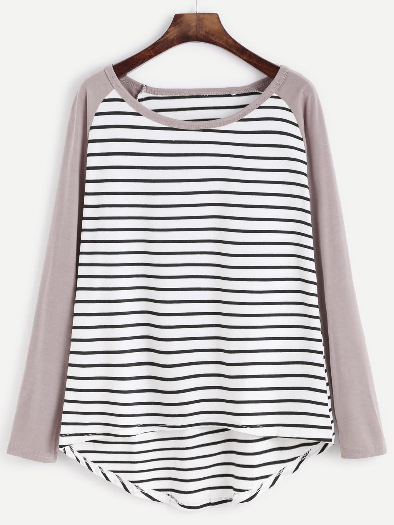 Contrast Sleeve Striped Dip Hem T-Shirt