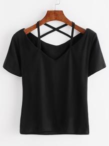 Black V Neck Criss Cross Back T-shirt
