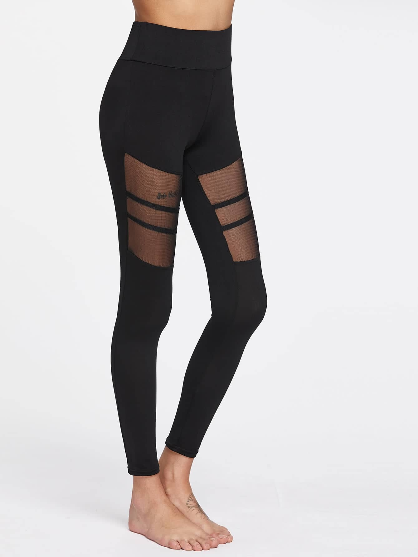 Active Mesh Paneled Leggings leggings170403306