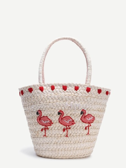 Beige Bird Pattern Straw Tote Bag