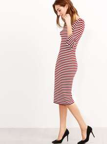 Two Tone Elbow Sleeve Striped Dress