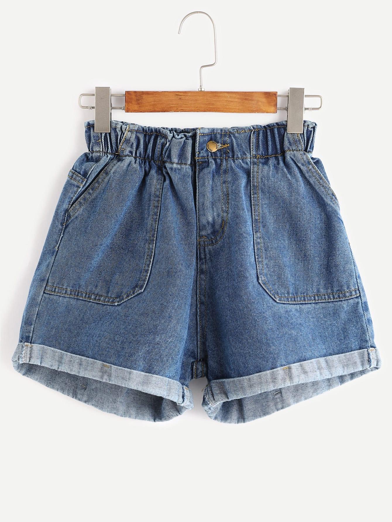 Pocket Rolled Hem Denim Shorts solid rolled hem pants