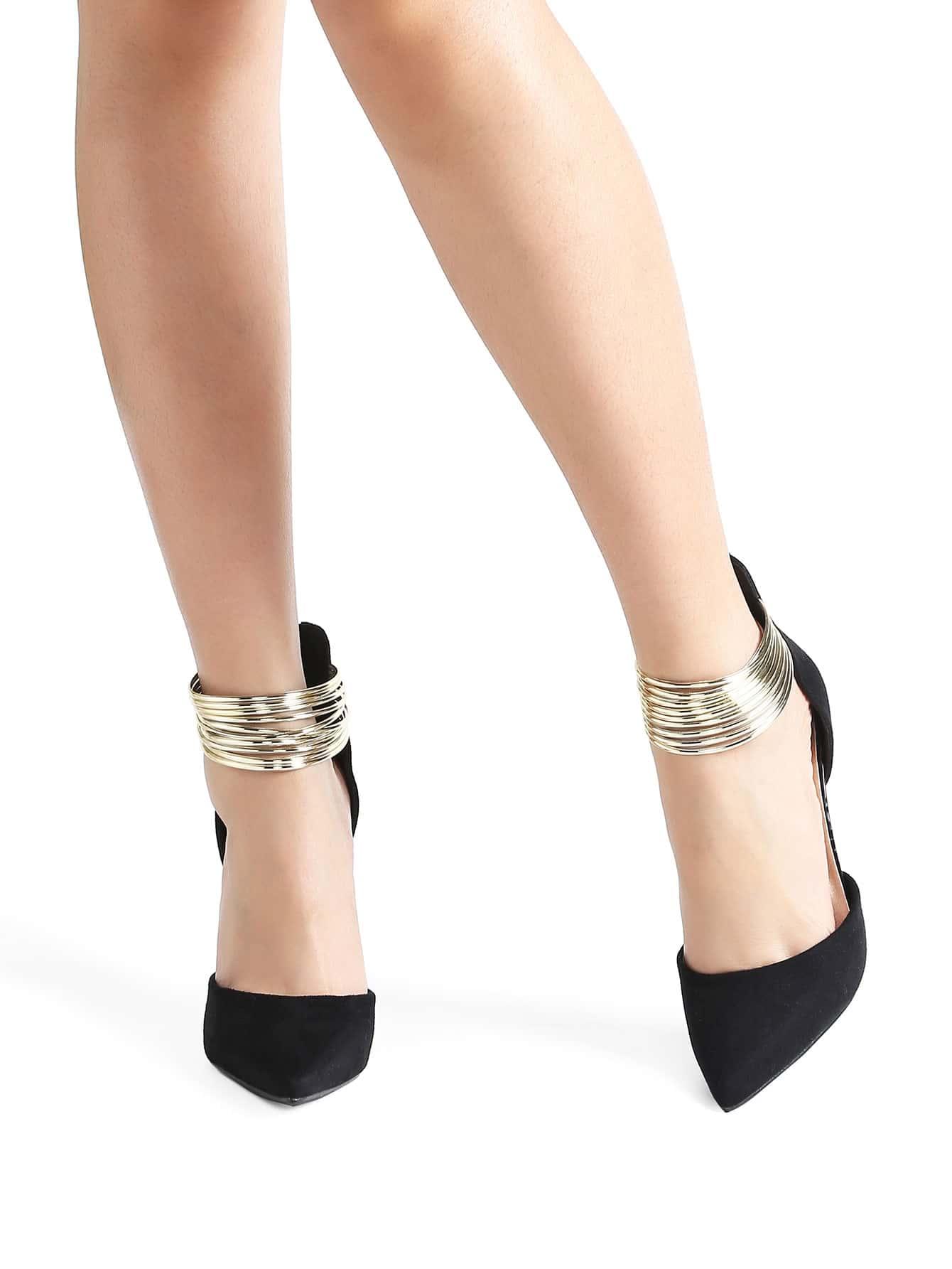 Фото Black Contrast Ankle Detail Point Toe Stiletto Heels. Купить с доставкой