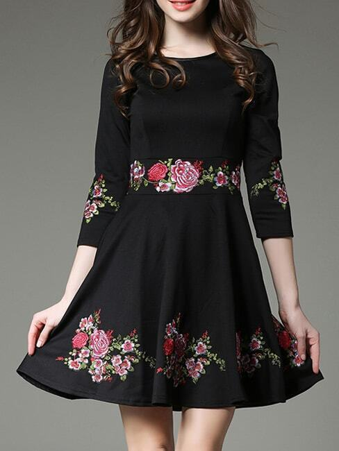 Фото Black Flowers Embroidered A-Line Dress. Купить с доставкой