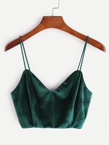 Top de tirante de terciopelo de espalda con cremallera-verde