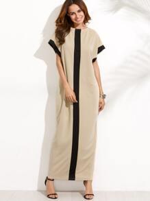Контрастное макси платье с карманом