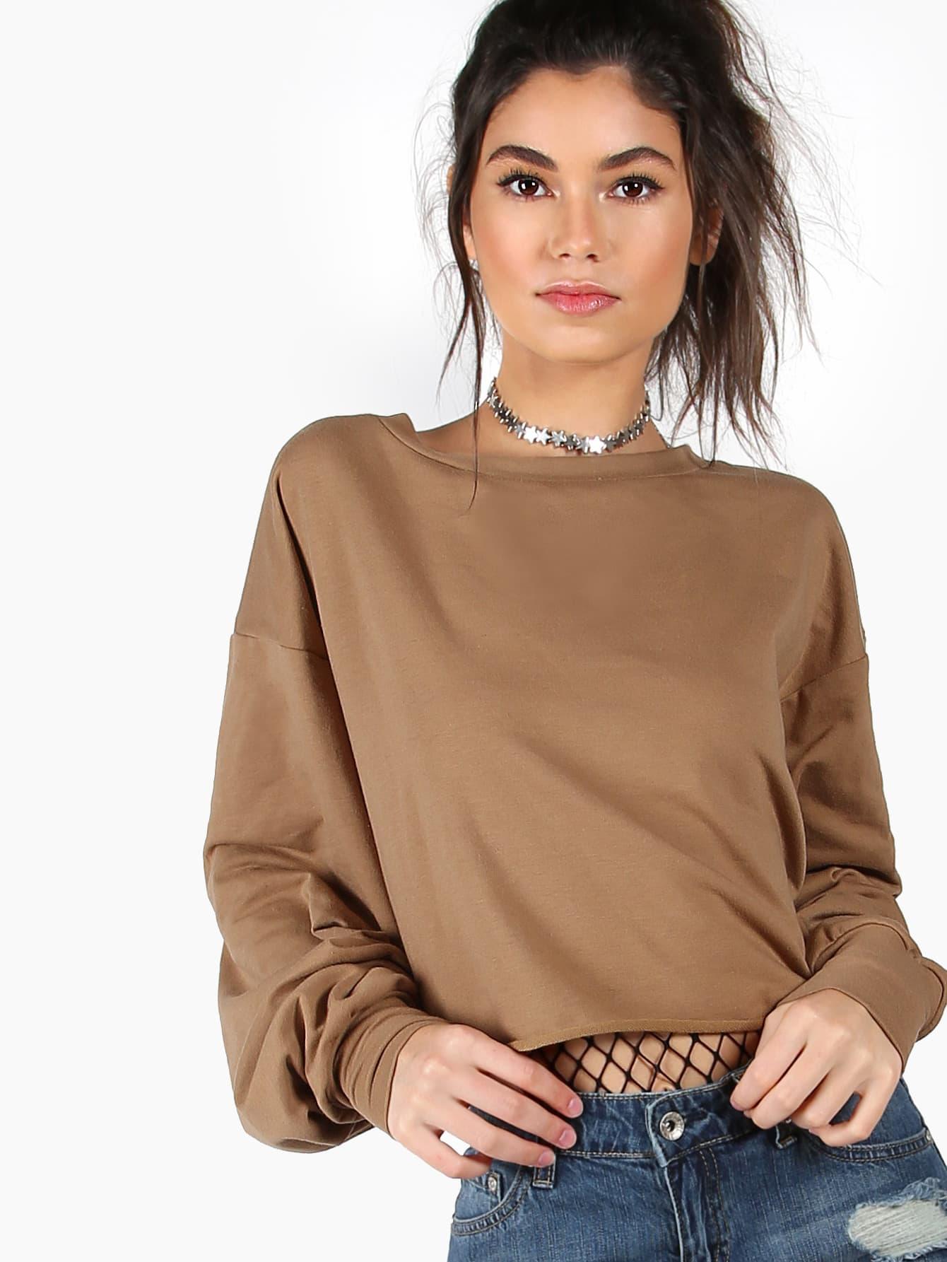 Drop Shoulder Lantern Sleeve Sweatshirt drop shoulder fringe trim sweatshirt