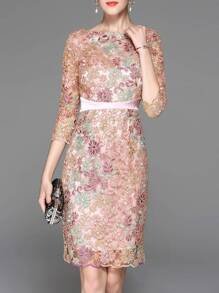 Pink Gauze Flowers Embroidered Sheath Dress
