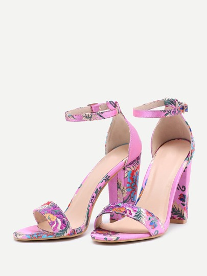 SheIn / Two Part Jacquard Chunky Heeled Sandals