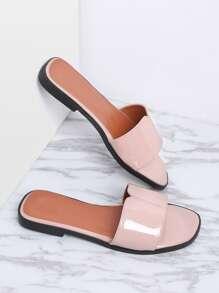 Sandales plates à lanières en cuir rose
