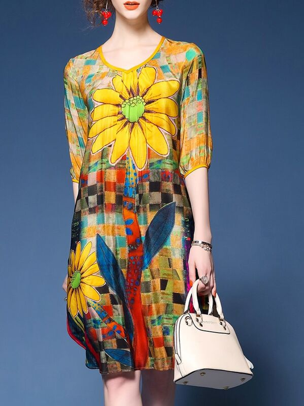 Yellow V Neck Flowers Print Shift Dress, null