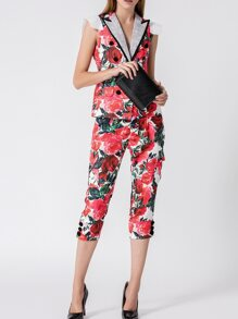 Red V Neck Rose Print Top With Pants