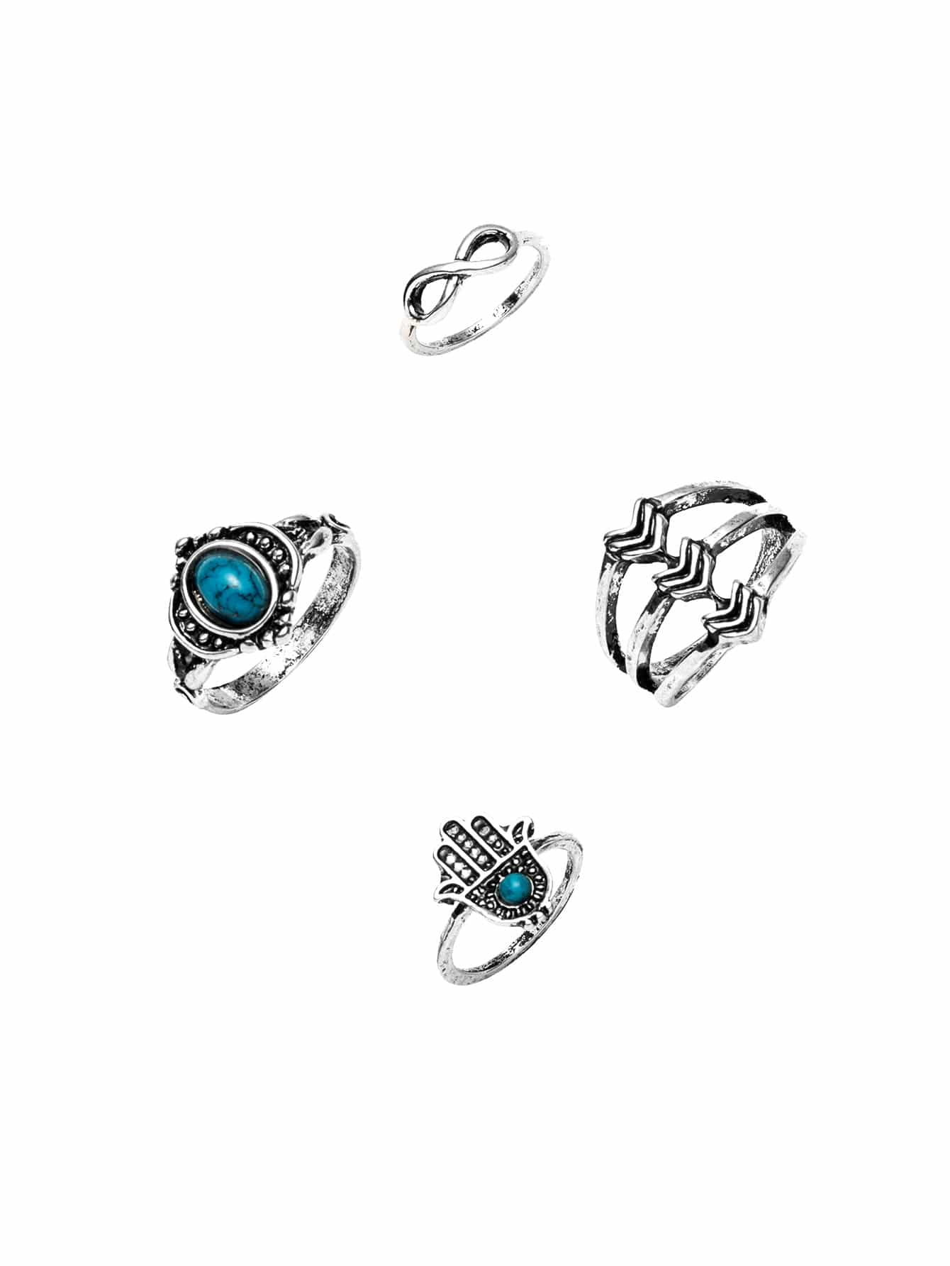 Фото Silver Ring Set With Gemstone Detail. Купить с доставкой