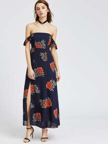 Navy Florals Off The Shoulder Slit Hem Dress