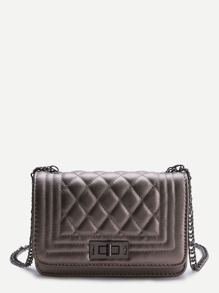 Grey Quilted Crossbody Bag With Chain
