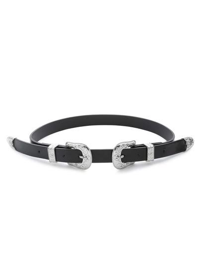 Silver Vintage Pattern Buckle Belt