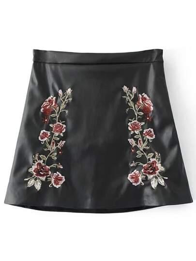 Black Flower Embroidery PU A Line Skirt