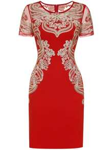 Red Gauze Disc Flowers Sheath Dress