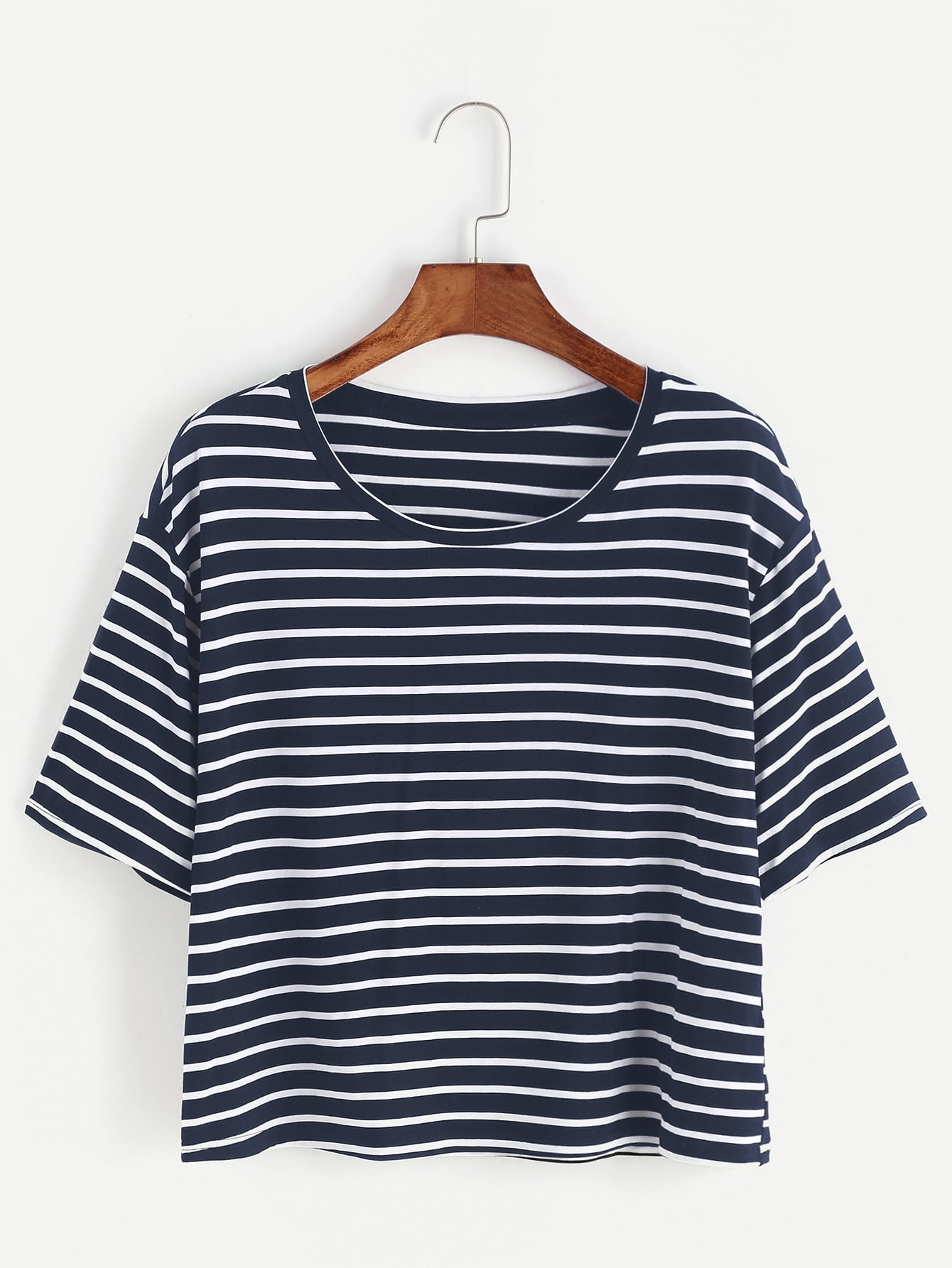 Striped Dropped Shoulder Crop Tee cutout neck dropped shoulder tee
