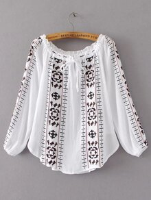 Tie Neck Embroidery Tunic Blouse
