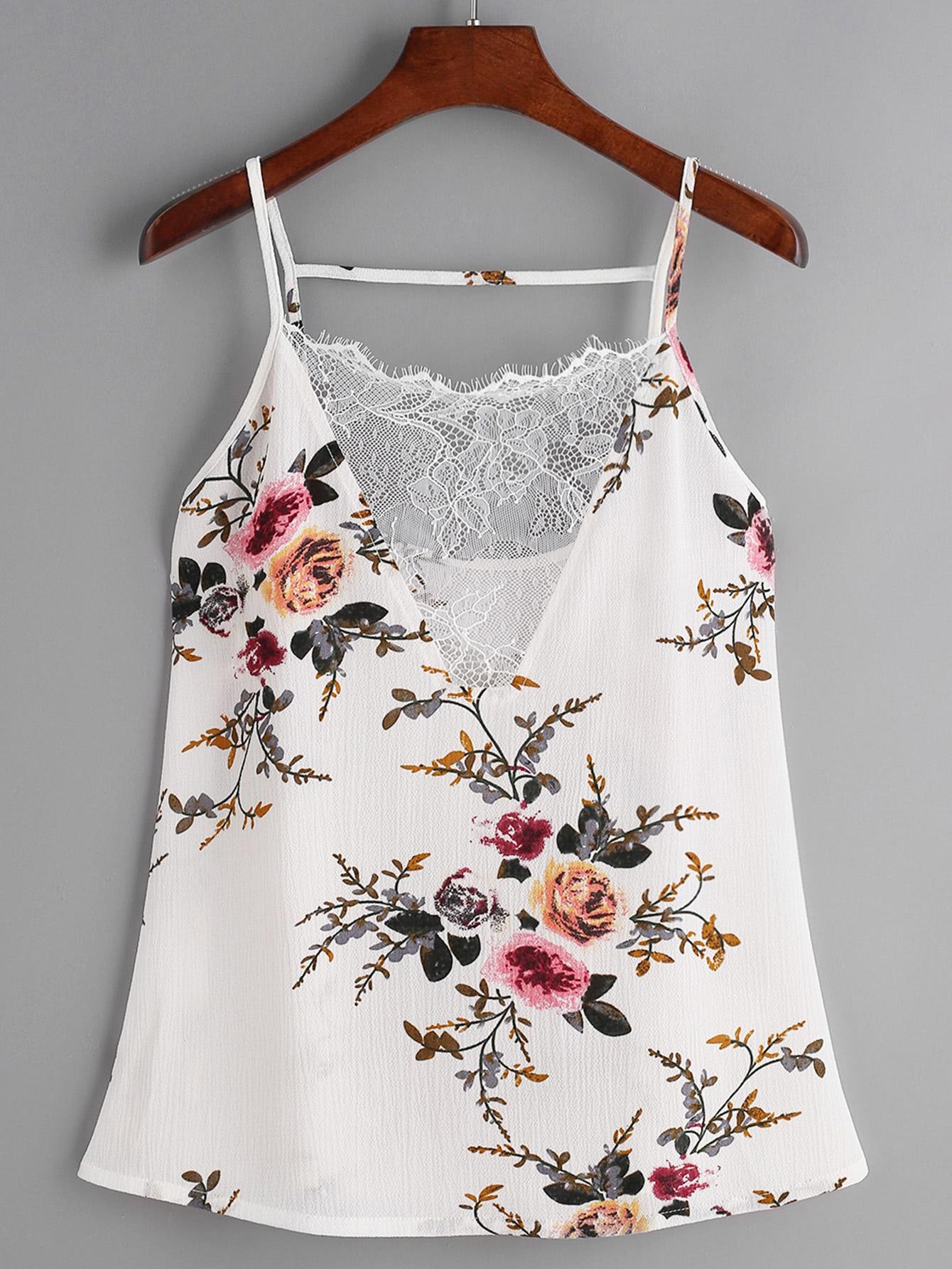 Floral Print Lace V-Neck Cami Top hanky hem floral print cami tank top